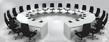 conference-table-and-chairs-with-microphones-isolated-on-white-background-Stock-Photo.